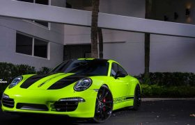 Acid Green Porsche Vehicle Wrap - Carbon Wraps Orlando