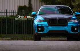 BMW X6 Blue Chrome Wrap